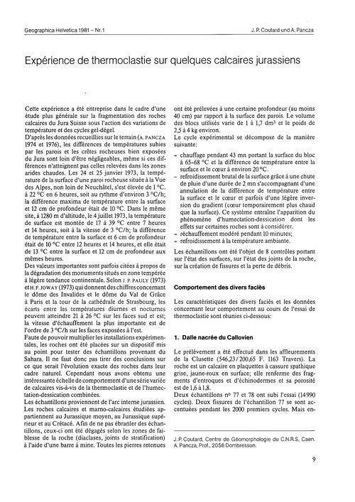 Expérience De Thermoclastie Sur Quelques... by Coulard, J. P.