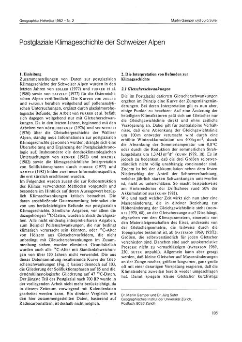 Postglaziale Klimageschichte Der Schweiz... by Gamper, M.