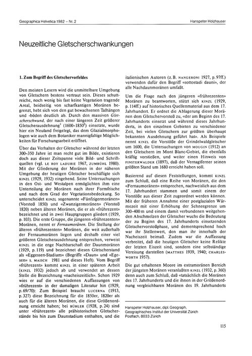 Neuzeitliche Gletscherschwankungen : Vol... by Holzhauser, H.