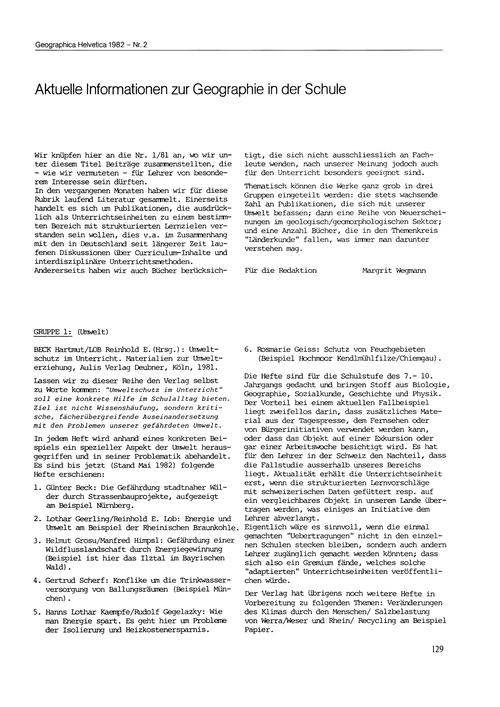 Aktuelle Informationen Zur Geographie in... by Wegmann, M.
