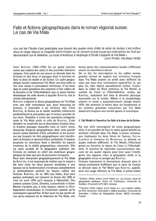 Faits Et Fictions Géographiques Dans Le ... by Sanguin, A.-l.