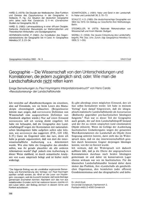 Geographie : Die Wissenschaft Von Den Un... by Eisel, U.