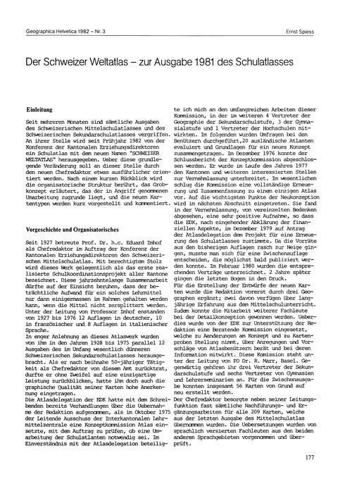 Der Schweizer Weltatlas : Zur Ausgabe 19... by Spiess, E.