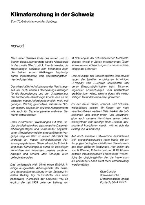 Klimaforschung in Der Schweiz : Volume 3... by Gensler, G.