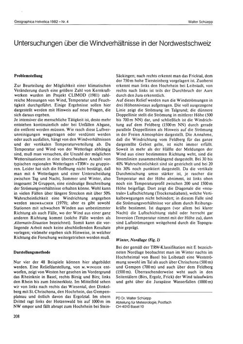 Untersuchungen Über Die Windverhältnisse... by Schüepp, W.