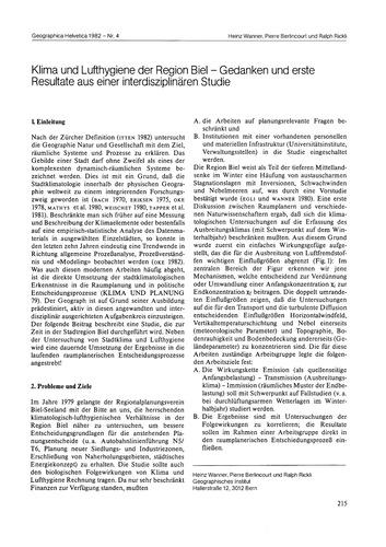 Klima Und Lufthygiene Der Region Biel : ... by Wanner, H.
