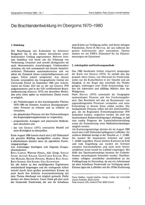 Die Brachlandentwicklung Im Obergoms 197... by Walther, P.