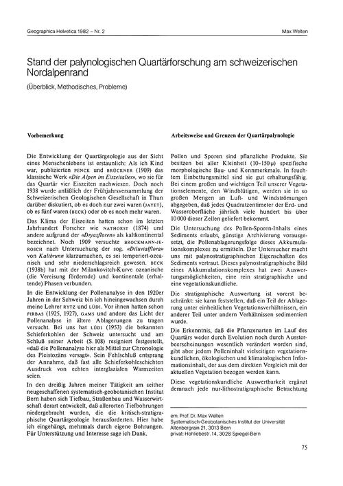 Stand Der Palynologischen Quartärforschu... by Welten, M.
