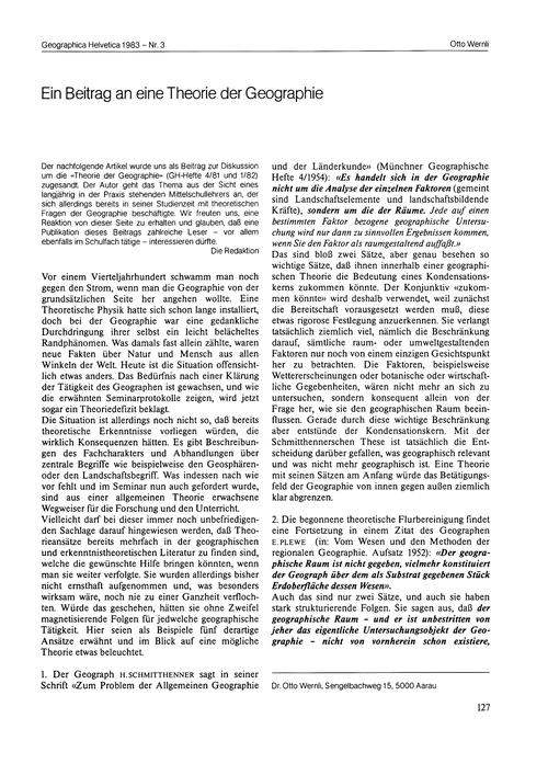 Ein Beitrag an Eine Theorie Der Geograph... by Wernli, O.