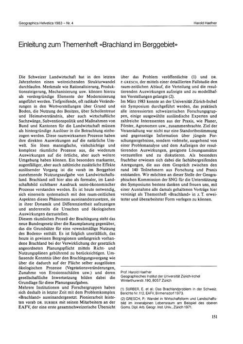 Einleitung Zum Themenheft Brachland Im B... by Haefner, H.