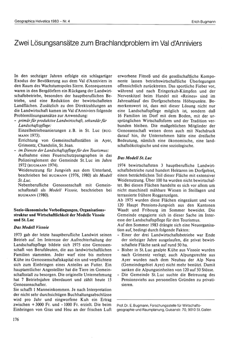 Zwei Lösungsansätze Zum Brachlandproblem... by Bugmann, E.