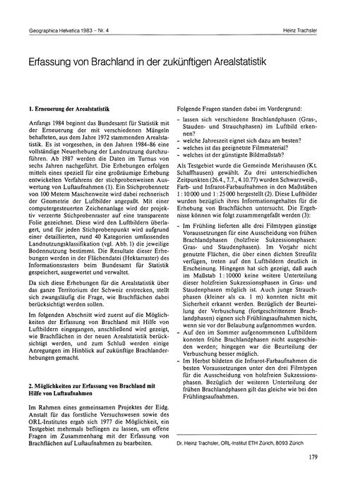 Erfassung Von Brachland in Der Zukünftig... by Trachsler, H.