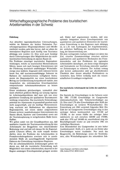 Wirtschaftsgegraphische Probleme Des Tou... by Elsasser, H.
