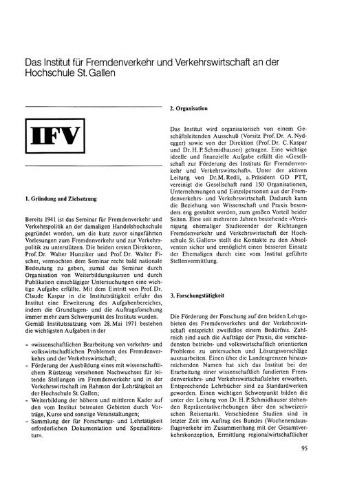 Das Institut Für Fremdenverkehr Und Verk... by Kaspar, C.