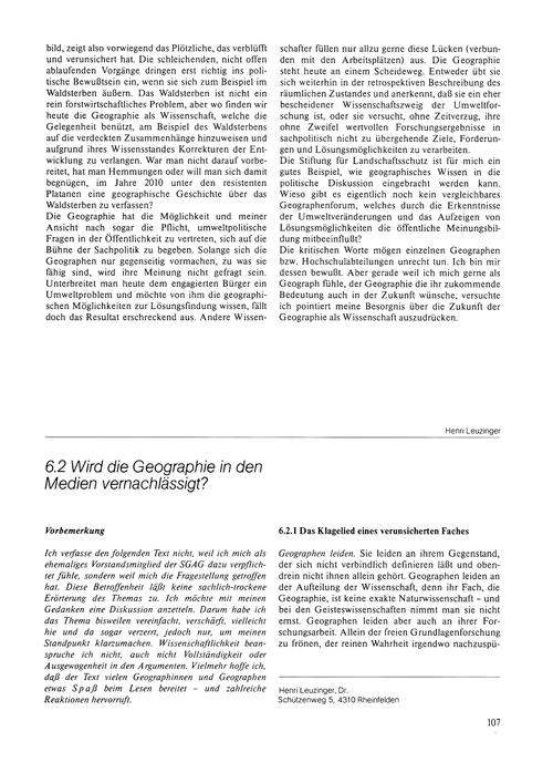 6.2 Wird Die Geographie in Den Medien Ve... by Leuzinger, H.