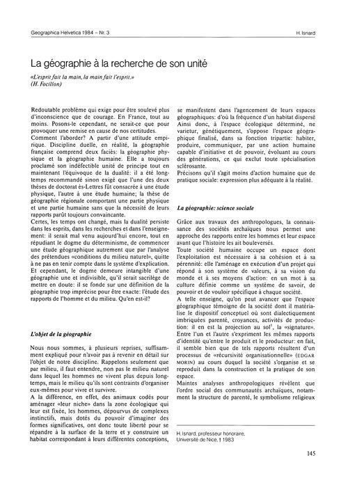 La Géographie À La Recherche De Son Unit... by Isnard, H.