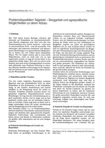 Problemdisparitäten Talgebiet : Berggebi... by Rieder, P.