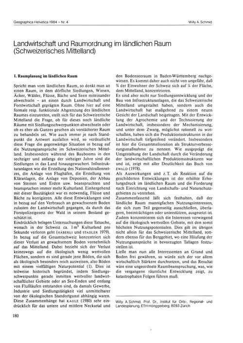 Landwirtschaft Und Raumordnung Im Ländli... by Schmid, W. A.