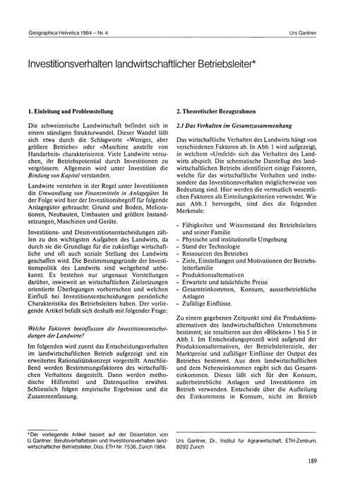 Investitionsverhalten Landwirtschaftlich... by Gantner, U.