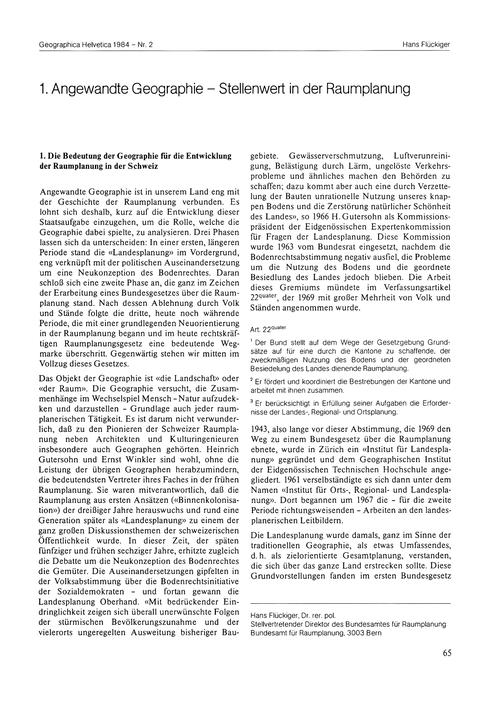 1. Angewandte Geographie : Stellenwert i... by Flückiger, H.
