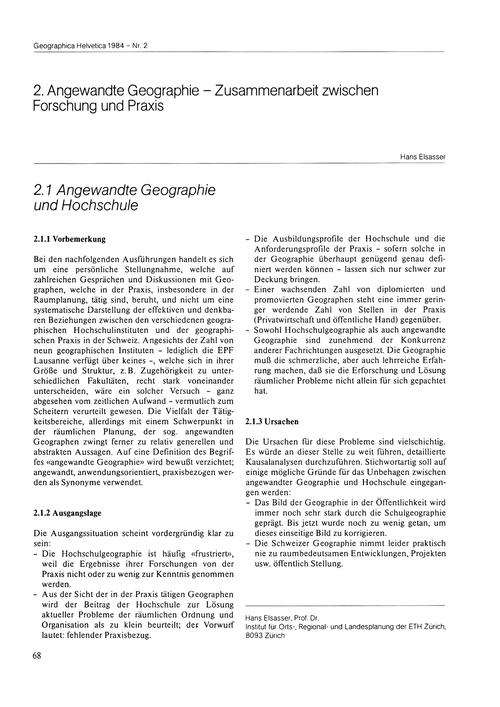 2. Angewandte Geographie Und Hochschule ... by Elsasser, H.