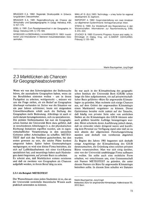 2.3 Marktlücken Als Chancen Für Geograph... by Baumgartner, M.
