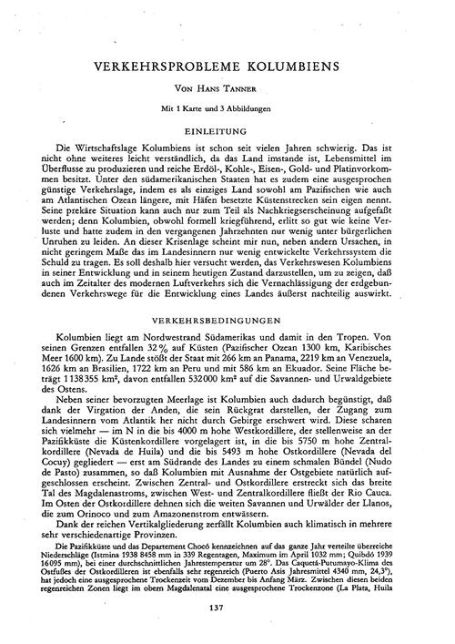Verkehrsprobleme Kolumbiens : Volume 4, ... by Tanner, H.