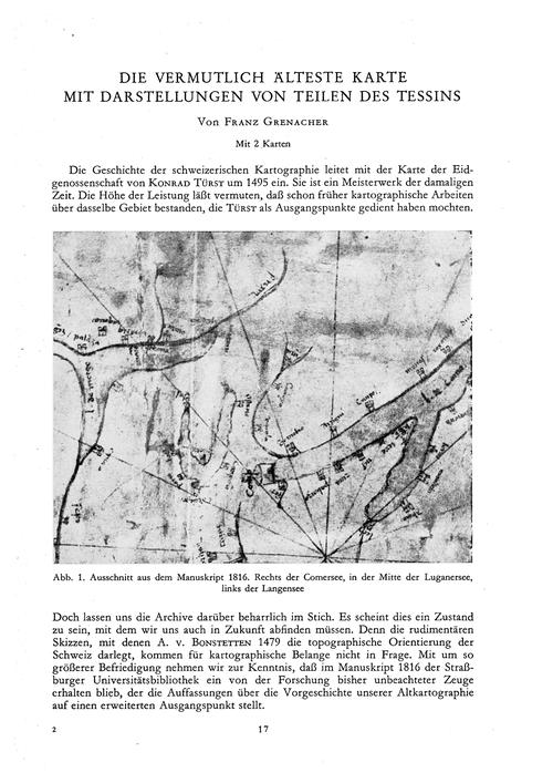 Die Vermutlich Älteste Karte Mit Darstel... by Grenacher, F.