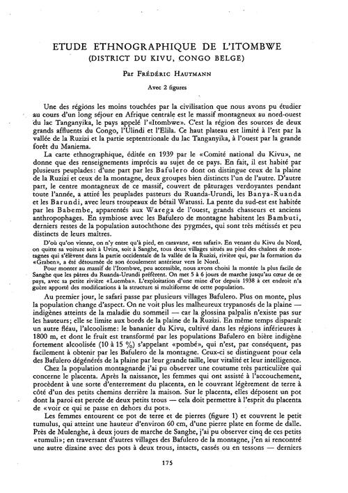 Étude Ethnographique De L'Itombwe (Distr... by Hautmann, F.