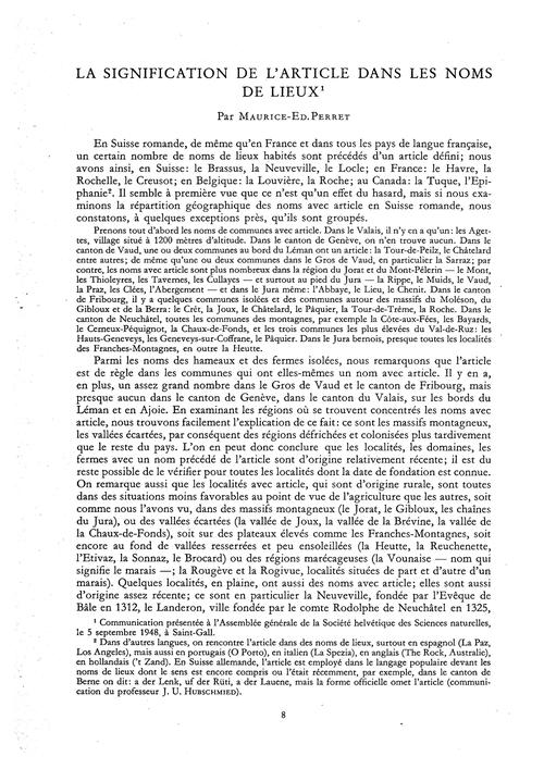 La Signification De L'Article Dans Les N... by Perret, M.-ed.