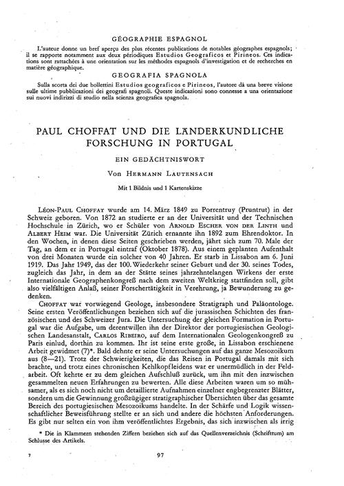 Paul Choffat Und Die Länderkundliche For... by Lautensach, H.