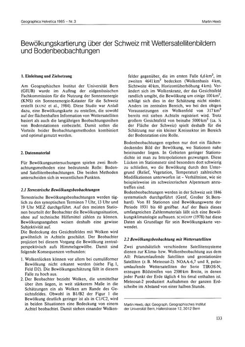 Bewölkungskartierung Über Der Schweiz Mi... by Heeb, M.