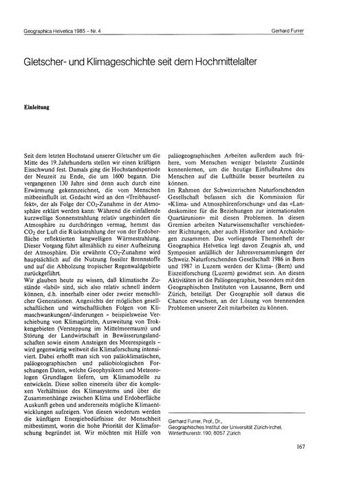 Gletscher- Und Klimageschichte Seit Dem ... by Furrer, G.