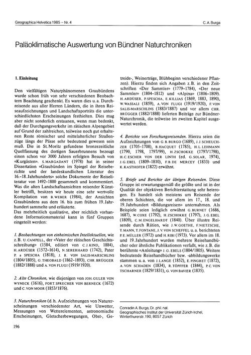 Paläoklimatische Auswertung Von Bündner ... by Burga, C. A.