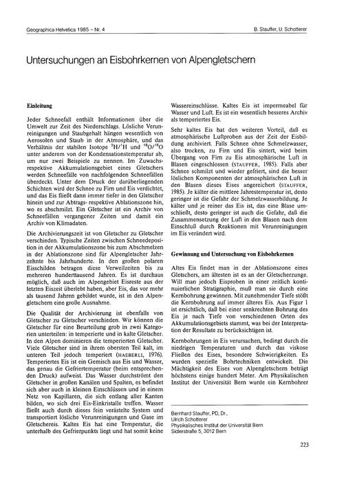 Untersuchungen an Eisbohrkernen Von Alpe... by Stauffer, B.