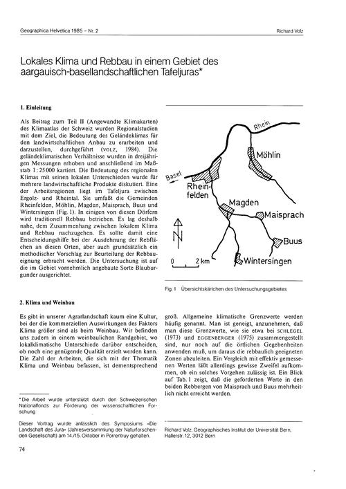 Lokales Klima Und Rebbau in Einem Gebiet... by Volz, R.