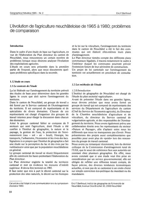 L'Évolution De L'Agriculture Neuchâteloi... by Berthoud, E. F.
