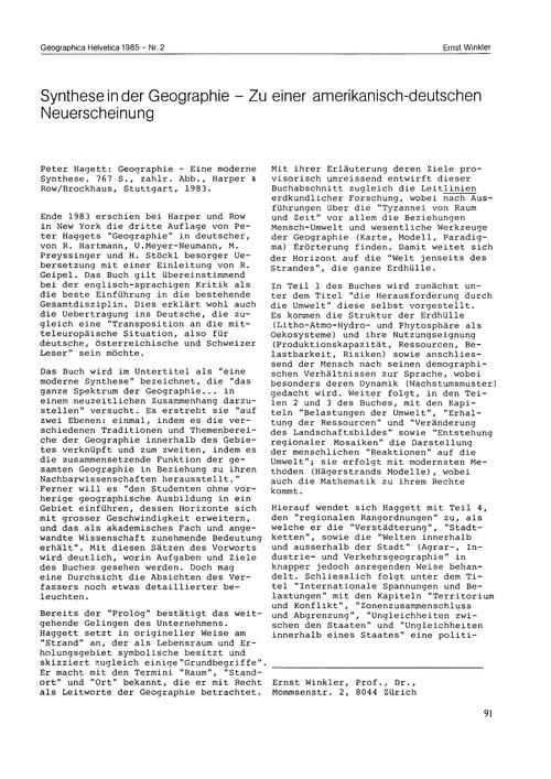 Synthese in Der Geographie : Zu Einer Am... by Winkler, E.