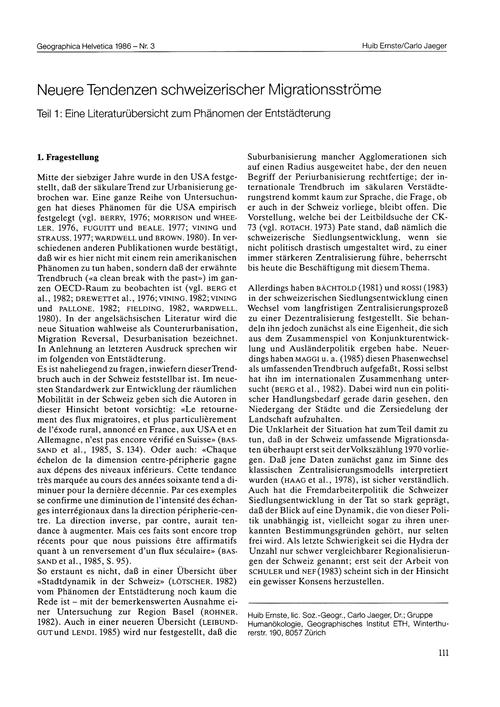 Neuere Tendenzen Schweizerischer Migrati... by Ernste, H.