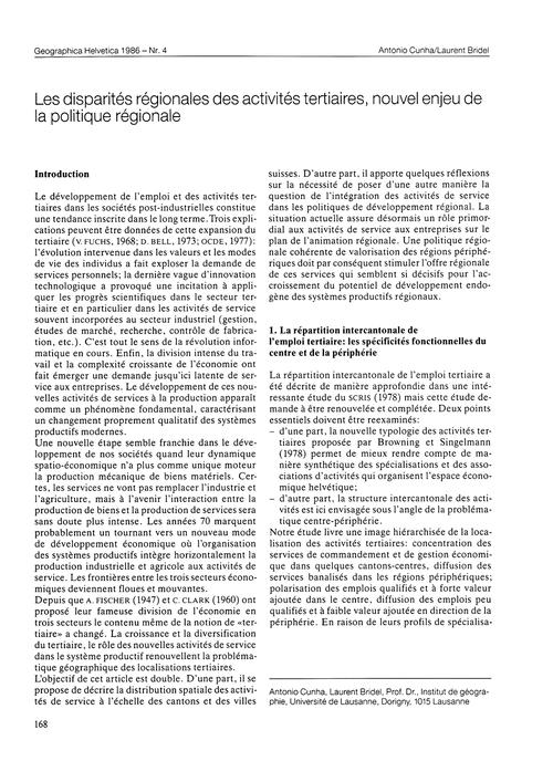 Les Disparités Régionales Des Activités ... by Cunha, A.