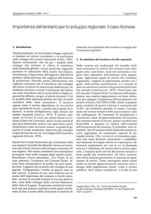 Importanza Del Terziario Per Lo Sviluppo... by Rossi, A.