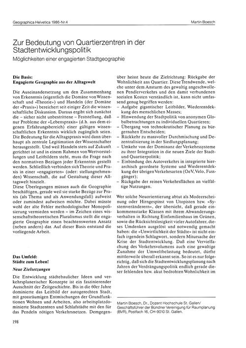 Zur Bedeutung Von Quartierzentren in Der... by Boesch, M.