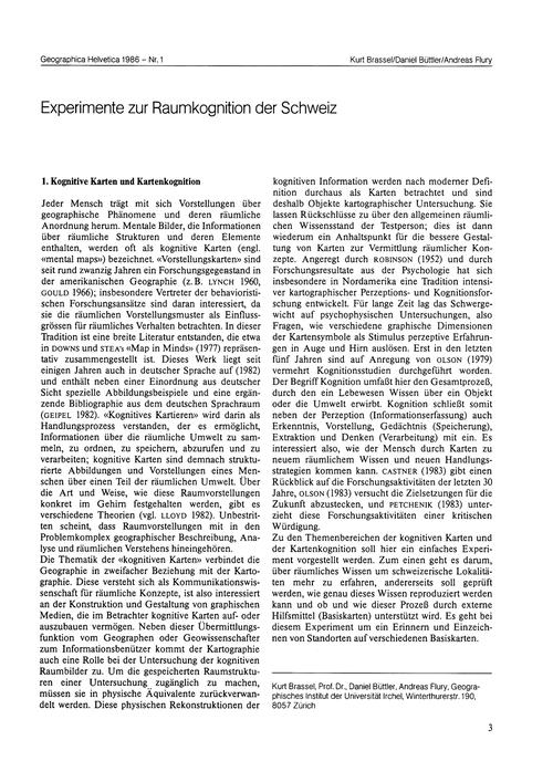 Experimente Zur Raumkognition Der Schwei... by Brassel, K.