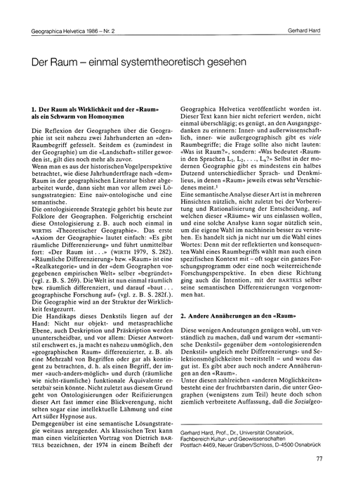 Der Raum : Einmal Systemtheoretisch Gese... by Hard, G.
