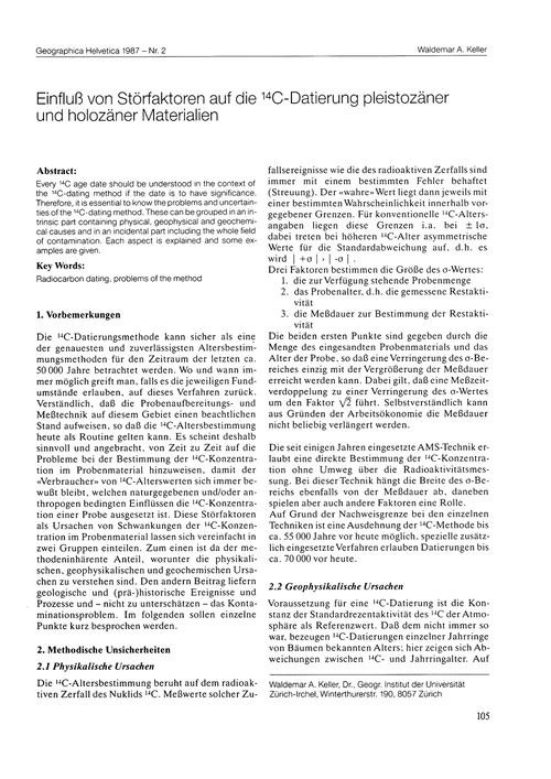 Einfluss Von Störfaktoren Auf Die 14C-da... by Keller, W. A.