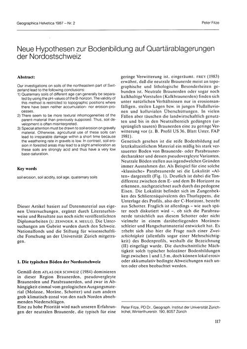 Neue Hypothesen Zur Bodenbildung Auf Qua... by Fitze, P.