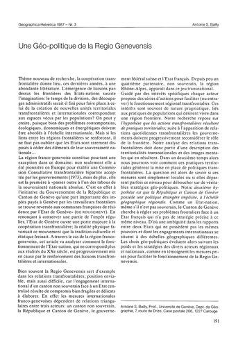 Une Géo-politique De La Regio Genevensis... by Bailly, A. S.