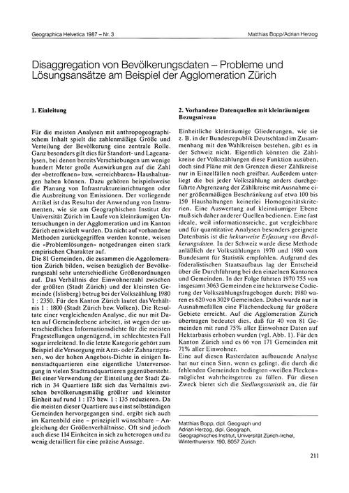 Disaggregation Von Bevölkerungsdaten : P... by Bopp, M.