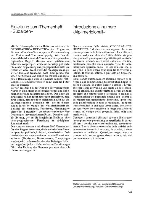 Einleitung Zum Themenheft Südalpen = Int... by Leimgruber, W.