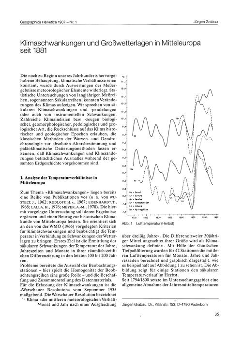 Klimaschwankungen Und Grosswetterlagen i... by Grabau, J.